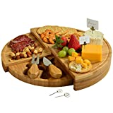 Picnic at Ascot Patented Bamboo Cheese/Charcuterie Board with Knives & Cheese Markers- Stores as a Compact Wedge- Opens to 13' Diameter- Designed & Quality Checked in USA