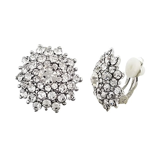 (SELOVO Clear Crystal Statement Snowflake Non Pierced Clip on Stud Earrings Silver)
