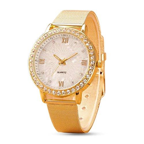 Clearance! SINMA Women Exquisite Watch Crystal Roman Numerals Gold Mesh Band Bracelet Quartz Wrist (Numerals Women Watch)