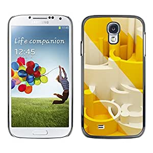 Paccase / SLIM PC / Aliminium Casa Carcasa Funda Case Cover para - White Stripes Shapes 3D Warning - Samsung Galaxy S4 I9500
