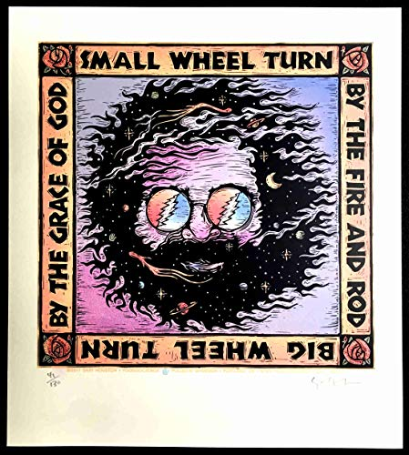 "Great Signed Gary Houston Poster""The Wheel"" Lyrics Jerry Garcia Robert Hunter Grateful Dead"