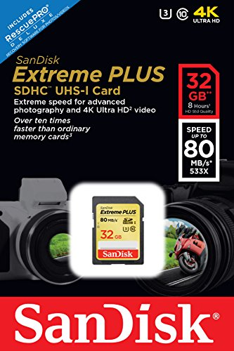 619659101107 - SanDisk Extreme Plus 32GB UHS-1/U3 SDHC Memory Card Up To 80MB/s- SDSDXS-032G-X46 (Label May Change) carousel main 3