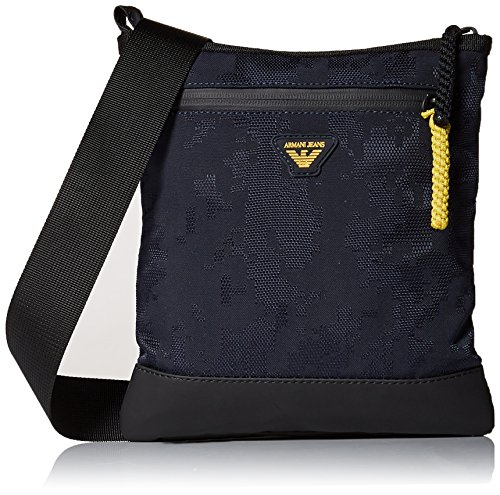 Armani Jeans Men's Jacquard Fabric and Rubberized Pouch Bag by ARMANI JEANS