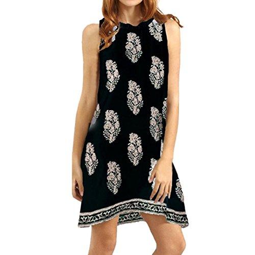Longra ♥♥Verano Mujeres sin mangas impresas Casual Beach Mini Dress negro