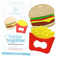 Baby Teething Toys Burger and Fries Baby Teether Toy Set - Say Bye Bye to Bab...