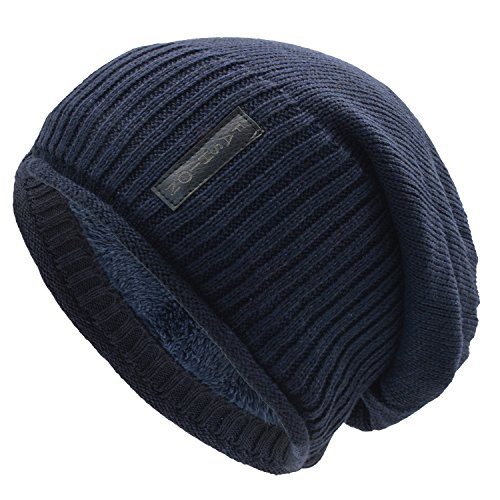 Long Soft Knit (UPhitnis Warm Knit Hat For Men & Women, Soft Long Loose Winter Hat With Hemming and Wool Inner)