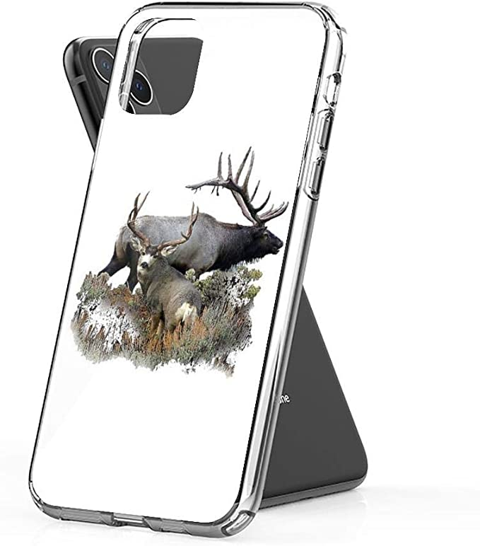Crystal Clear Phone Cases Bull elk and Mule Deer Buck Case Cover Compatible for iPhone (11 Pro Max)