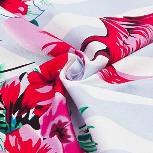 Aecibzo Sans Manches De Contraste Floral Flare Casual Femmes Mini-partie Une Ligne De Robe De Flamants Roses