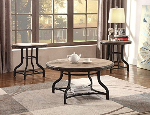 Kenneth 3-Pc Wood/Metal Coffee Table Set by Crown Mark