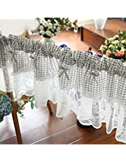 Kitchen Cafe Curtains, Rustic Country Style Lace Short Half Curtains,Tier Curtain Window Valance with Lace and Bowknot,Farmhouse Basement Gingham Drape