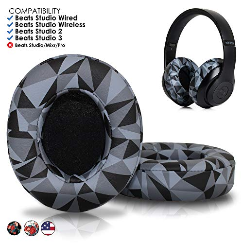 Upgraded Beats Replacement Ear Pads by Wicked Cushions - Compatible with Studio 2.0 Wired/Wireless and Studio 3 Over Ear Headphones by Dr. Dre ONLY (Does NOT FIT Solo) | Geo Grey