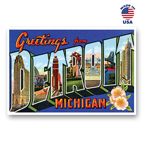 GREETINGS FROM DETROIT, MI vintage reprint postcard set of 20 identical postcards. Large Letter Detroit, Michigan city name post card pack (ca. 1930's-1940's). Made in ()