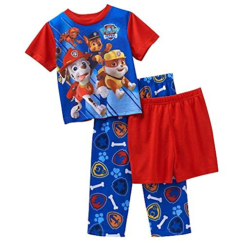 Paw Patrol Little Boys' 3 Piece Pajama Set (4T)