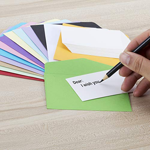 Colorful Envelopes with White Blank Business Cards - 150Pcs Pocket Envelopes by Apoulin (Image #3)