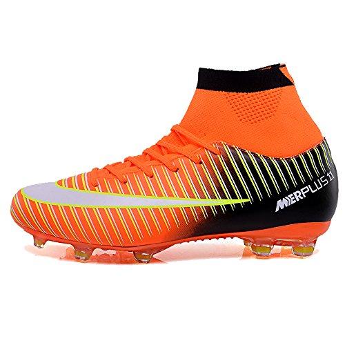de Top Chaussures Homme Sport Adulte Football Antidérapant Chaussures Entrainement High de Chaussure t Foot KAMIXIN Athlétisme Adolescents Orange de Professionnel w4ZqaWSggx