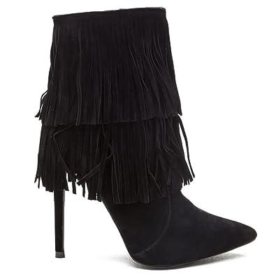 81b86c1f0d3 Amazon.com | Shoe Republic LA XIRA Womens Fringe Stiletto Ankle ...