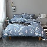 VM VOUGEMARKET Floral Duvet Cover Sets Full Queen,100% Cotton Elegant Blue Bedding Set with Hidden Zipper,3 Pieces Home Bedding Decoration for Girls,Female,Lady-Full/Queen,Rosa