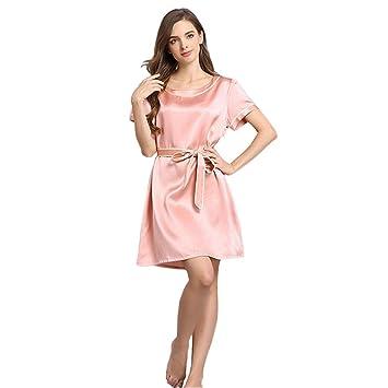 Mujer 100% Seda Pura Pijama Vestido de Dormir Bata de baño Suave Respirable Manga Corta con un cinturón Casa Ropa, XL: Amazon.es: Hogar