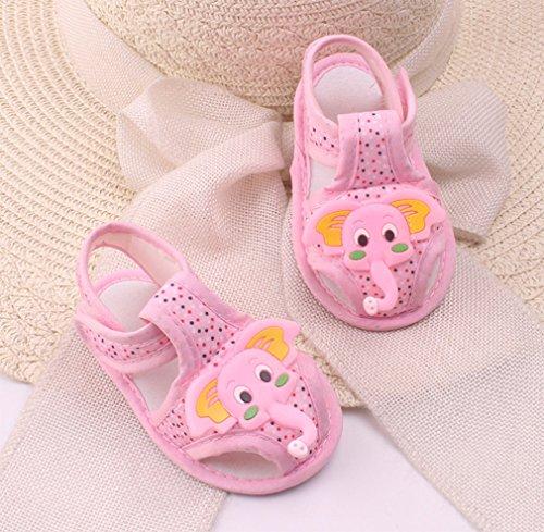 Babyschuhe Baumwolle Lauflernschuhe Krabbelschuh Kleinkind Anti-Rutsch Weicher Sohle Krippeschuhe Sommer Sandale für Mädchen Jungen 0-6 6-12 12-18 Monate Rosa