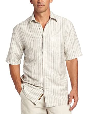 Cubavera Men's Short Sleeve One Pocket Stripe Shirt, Egret, X-Large