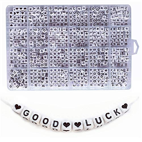 - Amaney 750 Pieces 6×6mm White Cube Acrylic Black Alphabet Letter Beads A-Z and Heart for Jewelry Making Bracelets Necklaces Key Chains and Kids Jewelry Each Letter Included