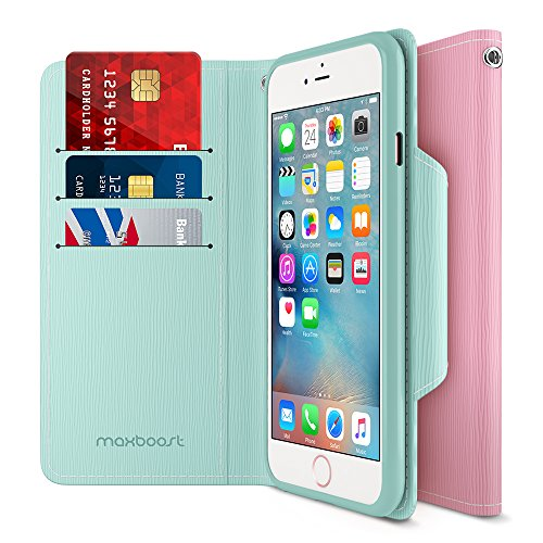 iPhone 6S 6 Wallet Case, Maxboost iPhone Wallet Case for iPhone 6S / 6 Protective PU Leather Card Case with Credit Card Slots + Side Pocket Flip Magnetic Stand Feature - Mint/Light Pink