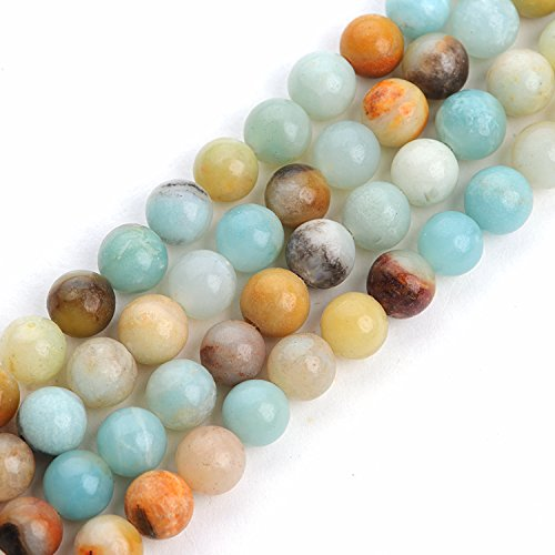 iSTONE Amazonite Gemstone Loose Beads Natural Round 8mm Crystal Energy Stone Healing Power for Jewelry Making