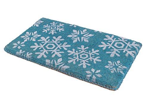 Handwoven, Extra Thick Doormat |  Entryway Door mat For Patio, Front Door | Decorative All-Season | Snowfall | 18