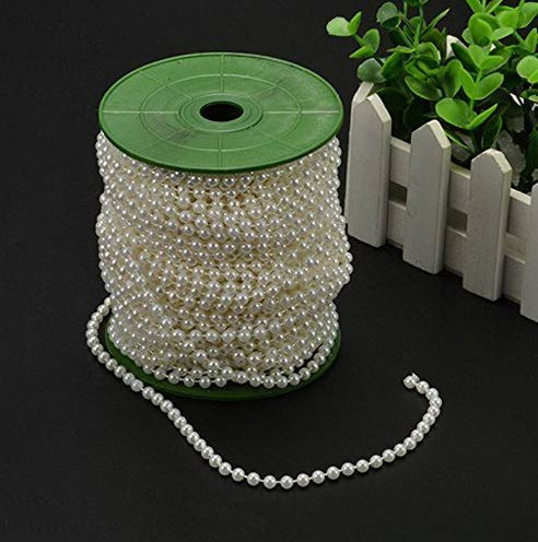 Gatton 6mm Pearl Bead Garland Spool Rope ding Centerpiece Decor 20M=65ft (Ivory) | Model WDDNG - 624 | ()