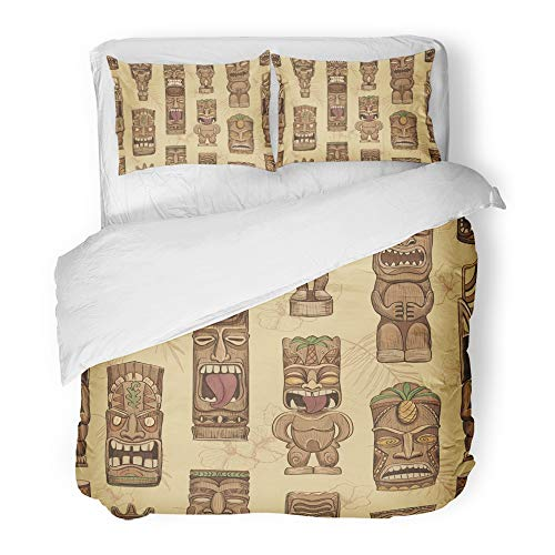 Emvency Decor Duvet Cover Set Full/Queen Size Brown Bar Collection of Wooden Tiki Idols Hawaii Mask Luau Tattoo Tropical Aloha 3 Piece Brushed Microfiber Fabric Print Bedding Set Cover -