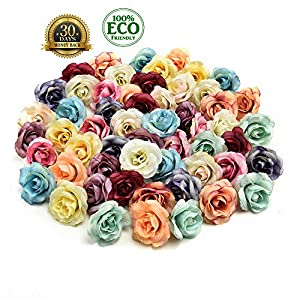 silk flowers in bulk wholesale Fake Flowers Heads Artificial Silk Flower Head Home Wedding Party Decoration Wreath Scrapbooking Fake Sunflower Flowers 30PCS 3.5cm (Multicolor) 22