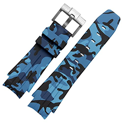 21mm Camouflage Rubber Strap Silicone Watch Band Fits for Rolex Submariner GMT Yacht Master Oysterflex
