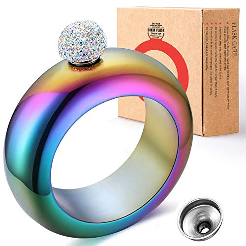 BOKIN Bracelet Bangle Flask 304 Stainless Steel Wine/Alcohol Wrist Flasket with Handmade Rhinestone Lid, Funnel in Gift Box For Women Girls Dance Birthday Party Club Bar 3.5oz Holographic