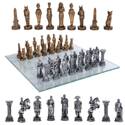 Ebros Kingdoms At War Egyptian Empire Versus Roman Empire Chess Set Made Of Hand Painted Resin Chess Pieces And Glass Checkered - War Piece Themed Chess