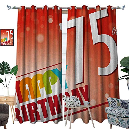 75th Birthday Patterned Drape for Glass Door Old Age Seventy Five Years Old Party Invite in Retro Style Greeting Theme Waterproof Window Curtain W84 x L108 Multicolor ()