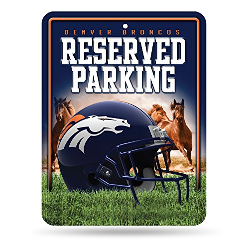 Denver Broncos Parking Sign - NFL Denver Broncos 8-Inch by 11-Inch Metal Parking Sign Décor