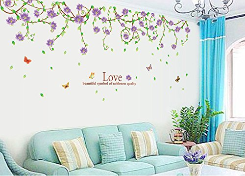 Ufengke® Beautiful Purple Flower Vines And Butterflies Wall Decals, Living  Room Bedroom Removable Wall Stickers Murals Part 92