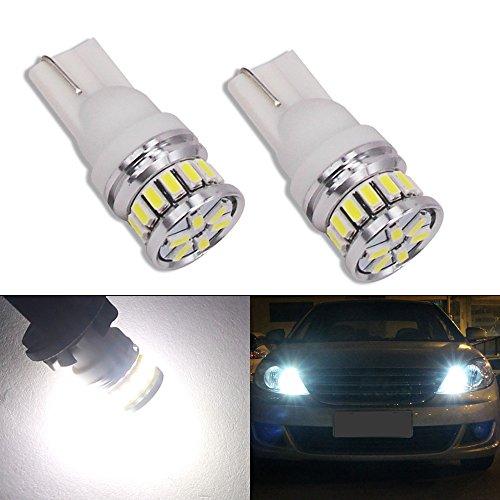 HSUN T10 LED Light Bulb,194 161 168 175 2825 12961 20LED SMD3014 Canbus Error Free for 12V-24V Car Side Marker/Indicator Backup Light,2 Pack,6000K White