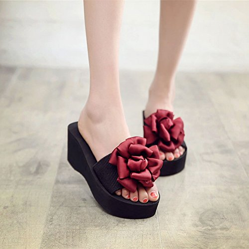 Flowers Zapatillas 38 Beach Mujer Dhg Slippers Chanclas slippers Slip rojo Slippers nfwqAxP0R