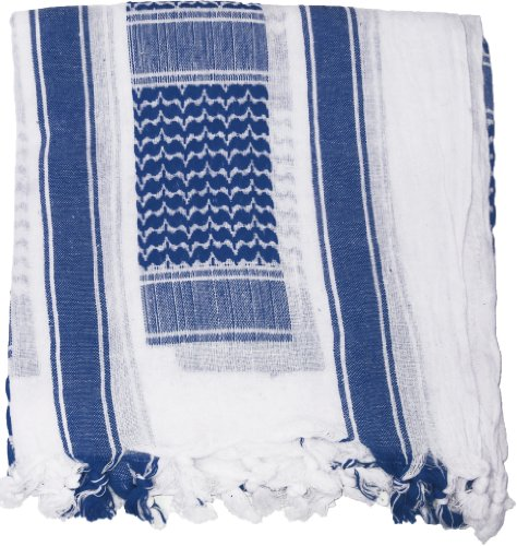 100% Cotton Shemagh Tactical Desert Keffiyeh Scarf (White & Navy Blue)