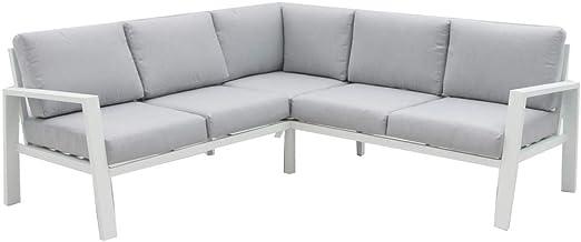 Sofá de jardín y Exterior Blanco de Aluminio para terraza - LOLAhome: Amazon.es: Jardín