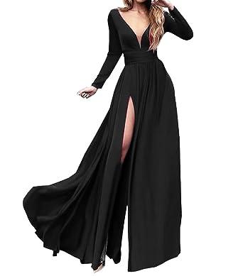 280451ed5b7 LUBridal Women s Double V-Neck Long Sleeves Evening Dresses Side Slit  Chiffon Prom Gown Black