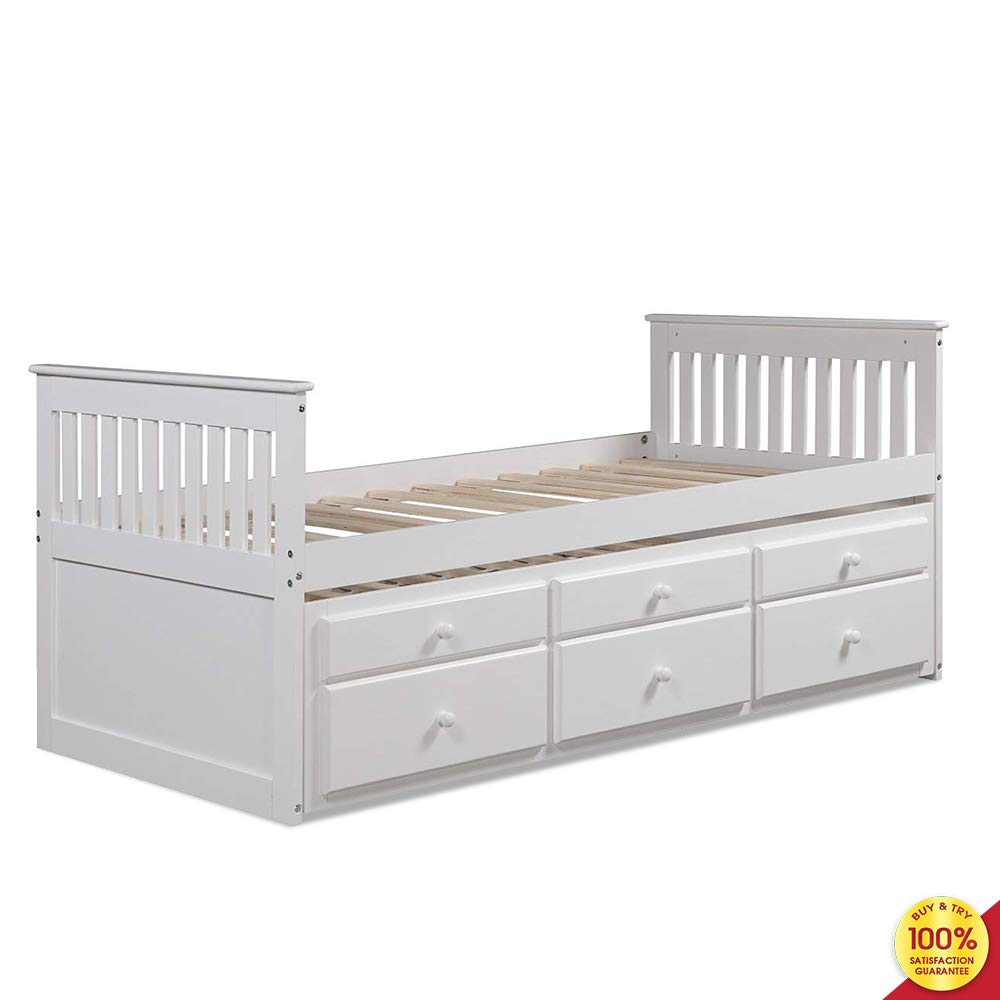 Discovery World Furniture Bookcase Captains 3 Drawers and Twin Trundle Bed, White