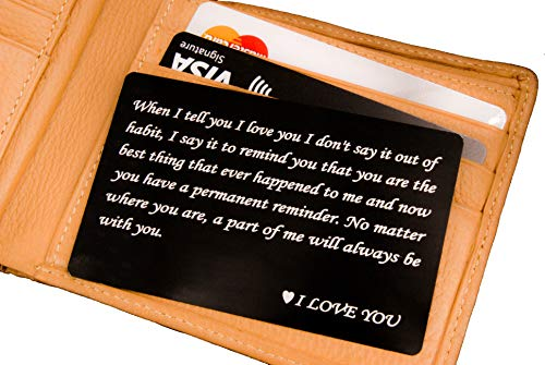 RXBC2011 wallet engraved card for boyfriend husband dad wife son gifts card Handmade Fathers Day Deployment funny gifts