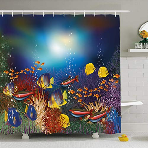(Ahawoso Shower Curtain 66x72 Inches Sunlight Coral Underwater Tropical Fish Nature Dive Marine Life Ecosystem Aquarium Drawing Undersea Waterproof Polyester Fabric Set with Hooks)