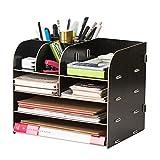 Desktop Wooden 4-Tray File Folder Desk Organizer Basket, DIY Home Portable Stackable 11 Compartment Storage Bins Crate Folder Holder for Office Supplies