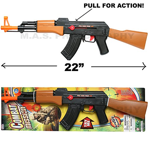 Combat Russian model Rifle AK-47 Full Size Air- Clicker Friction Power with Auto Fire Sound]()