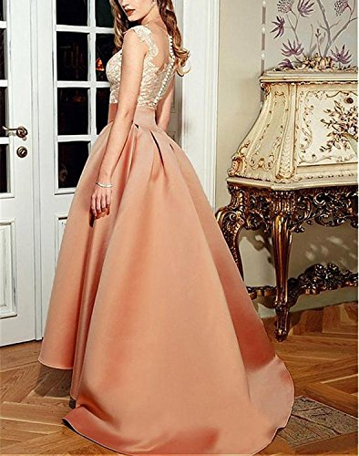 Lace Formal Lafee Gown Dresses Prom Low High Long Pink Evening Pleated Bridal Women's ITxqvTwOf