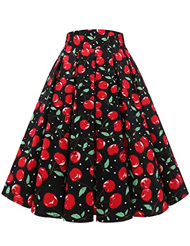 Bridesmay Women's Vintage Pleated Skirt Floral Printed A-line Swing Skirt with Pockets Black Cherry XS