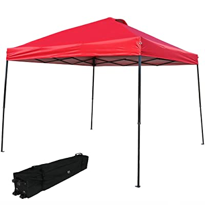 Sunnydaze Heavy-Duty Straight Leg Quick-Up Instant Canopy Event Shelter, 10 x 10 Foot, Red, Includes Rolling Bag : Garden & Outdoor